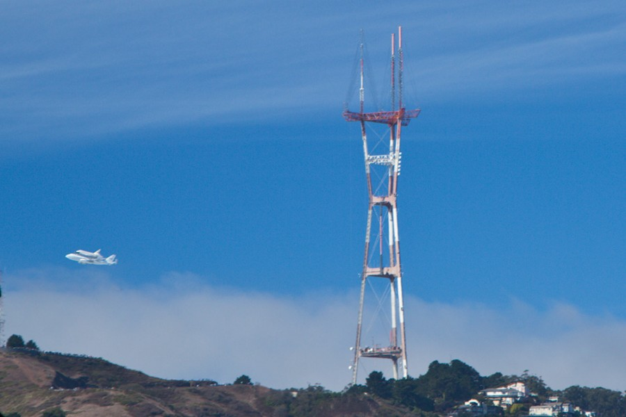 Endeavour shuttle by Sutro Tower in SF