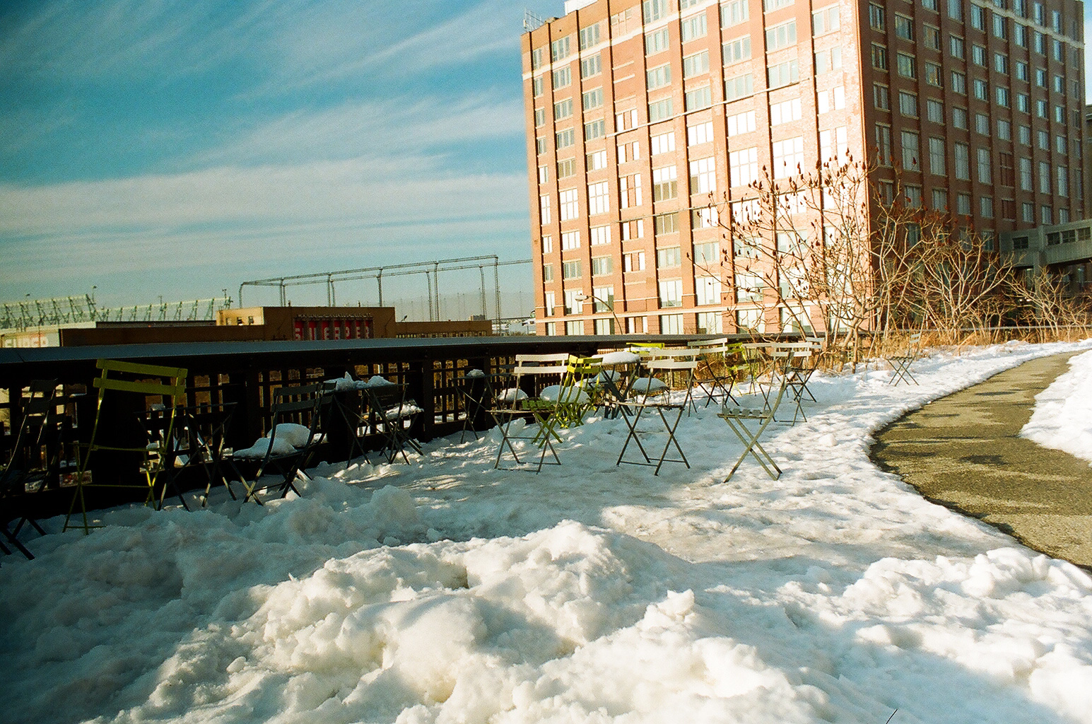 Snow along the High Line. No one wanted to sit here.